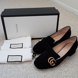 Authentic Gucci Marmont Fringed Suede Pumps